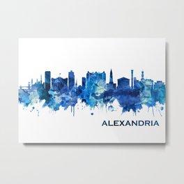 Alexandria Egypt Skyline Blue Metal Print