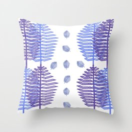 Ultravioletbluesleafpattern Throw Pillow