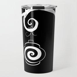 Burtonesque Branch with Ornament 4 / White on Black Travel Mug