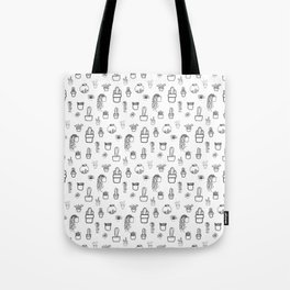 Cacti and Succulents Line Drawing Pattern Tote Bag