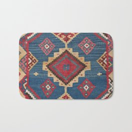 Vintage Woven Kilim II // 19th Century Colorful Royal Blue Yellow Authentic Classic Ornate Accent Pa Bath Mat