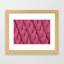 Pink cable knitting stitch in soft yarn Framed Art Print