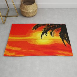 Sunset under the Palm trees Rug