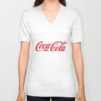 coca cola V-neck T-shirts featuring Coca Cola by ZenthDesigns