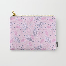 Purple Blue Berries Leaves Pattern Carry-All Pouch