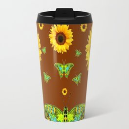 COFFEE BROWN SUNFLOWERS & GREEN MOTHS Travel Mug