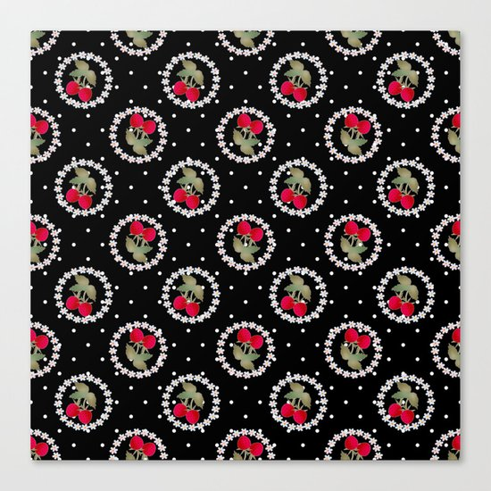 Floral pattern retro . Strawberry. Canvas Print