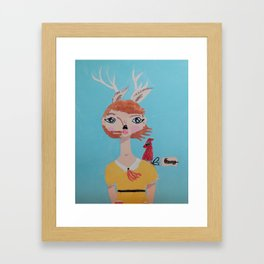 ~ Deer and Cardinal ~ 10 Year Old Amelia's Arizona Critter Girl ~ Deer and Cardinal ~ Framed Art Print