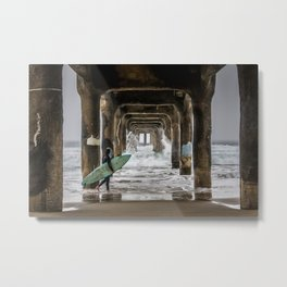 Surfer under Manhattan Beach Pier Metal Print