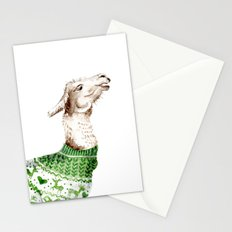 Llama in a Green Deer Sweater Stationery Cards
