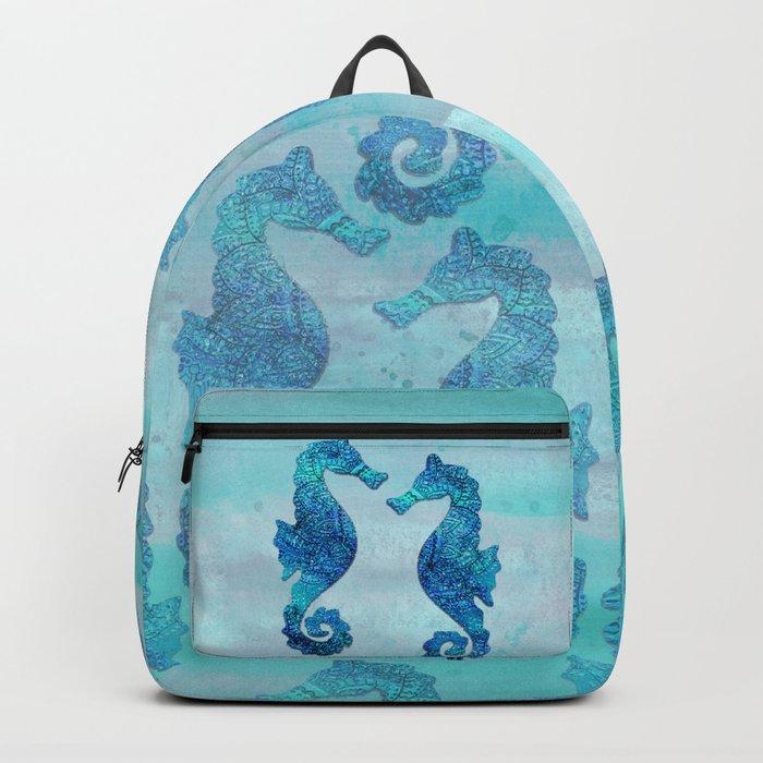 Blue Seahorse Couple Underwater Backpack