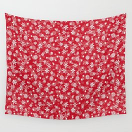 Christmas Red Poinsettia Snow Flakes Wall Tapestry
