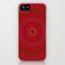Red Lace Ornament Mandala iPhone Case