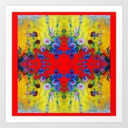 WESTERN YELLOW & RED GARDEN GOLD BLUE FLOWERS Art Print