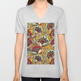 Vintage Lotus Flowers Unisex V-Neck