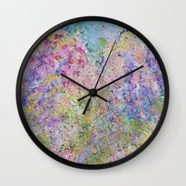 Spring Hydrangeas, Pastel Abstract, Modern Painting Wall Clock