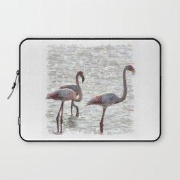 Three Flamingos Watercolor Laptop Sleeve