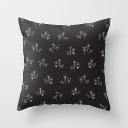 tiny white floral clusters on black Throw Pillow