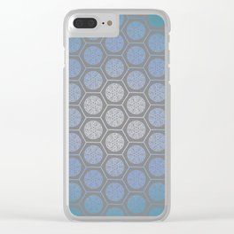 Hexagonal Dreams - Blue Turquoise Gradient Clear iPhone Case