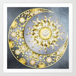 Golden Moon and Sun Art Print