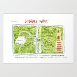 Dolores Park Map from Meanwhile in San Francisco Art Print