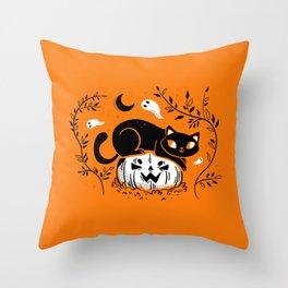 Spooky Cat - Mid Century Vintage Orange Throw Pillow