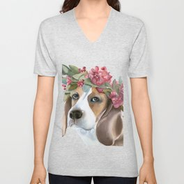 Dog with flower crown Unisex V-Neck