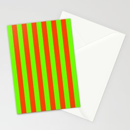 Super Bright Neon Orange and Green Vertical Beach Hut Stripes Stationery Cards