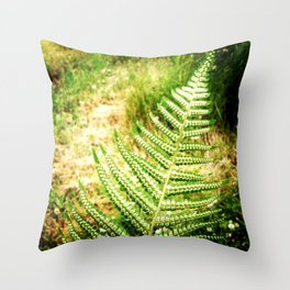 Green Fern Throw Pillow