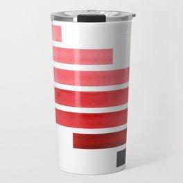 Red Midcentury Modern Minimalist Staggered Stripes Rectangle Geometric Pattern Watercolor Art Simple Travel Mug
