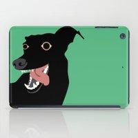 greyhound iPad Cases featuring QwkDog Crazy Greyhound by QwkDog Design
