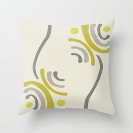 Simple Floral in Yellow and Gray Throw Pillow