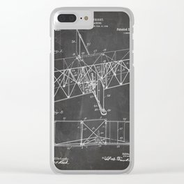Wright Brother'S Machine Patent - Airplane Art - Black Chalkboard Clear iPhone Case