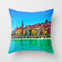 Menton, South of France Landscape Painting by Jeanpaul Ferro Throw Pillow