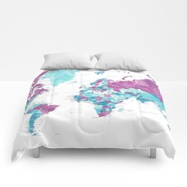 "Purple and turquoise watercolor world map with cities, ""Blair"" Comforters"