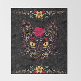 Day of the Dead Kitty Cat Sugar Skull Throw Blanket