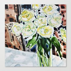Roses Blanches Canvas Print