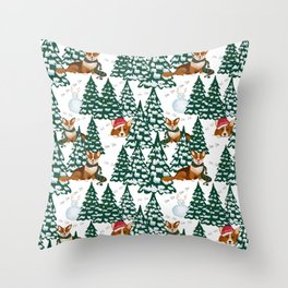 Corgis are having winter fun in snowy forest  Throw Pillow