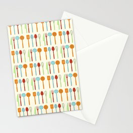 Kitchen Utensil Colored Silhouettes on Cream Stationery Cards