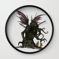 cthulu Wall Clocks featuring Elder God by CromMorc