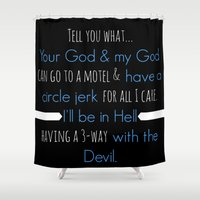 true blood Shower Curtains featuring True Blood - Pam Quote by macnicolae
