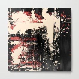 Grunge Paint Flaking Paint Dried Paint Peeling Paint Black Red Beige Metal Print