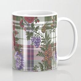 Floral Embroidery Look On Plaids Coffee Mug