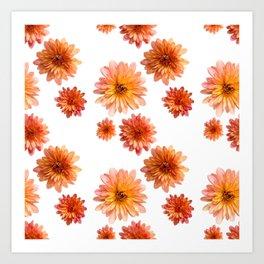 Coral Mum Floral Pattern - Scattered Flowers - Chrysanthemum Bloom Pattern - Real Flowers Art Print