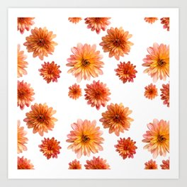 Coral Mum Floral Pattern - Scattered Flowers - Chrysanthemum Bloom Pattern - Real Flowers Art Print