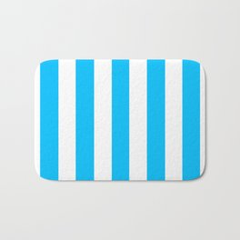Capri turquoise -  solid color - white vertical lines pattern Bath Mat