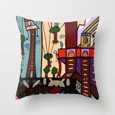 ANOTHER BUSY DAY at the BLUEBIRD EXCAVATION COMPANY Throw Pillow