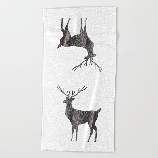 deer silhouette stag black bark with lichen Beach Towel