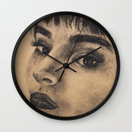 Graphic art, coal portrait brunette girl Wall Clock