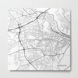 Augusta Map, USA - Black and White Metal Print